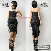 Punk gothic leather skirt