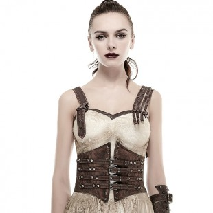 Steampunk Bones Corset - Coffee