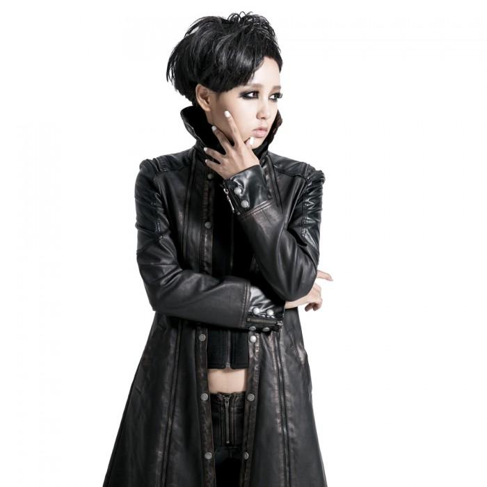 Long manteau cuir visual kei - Noir et Bronze