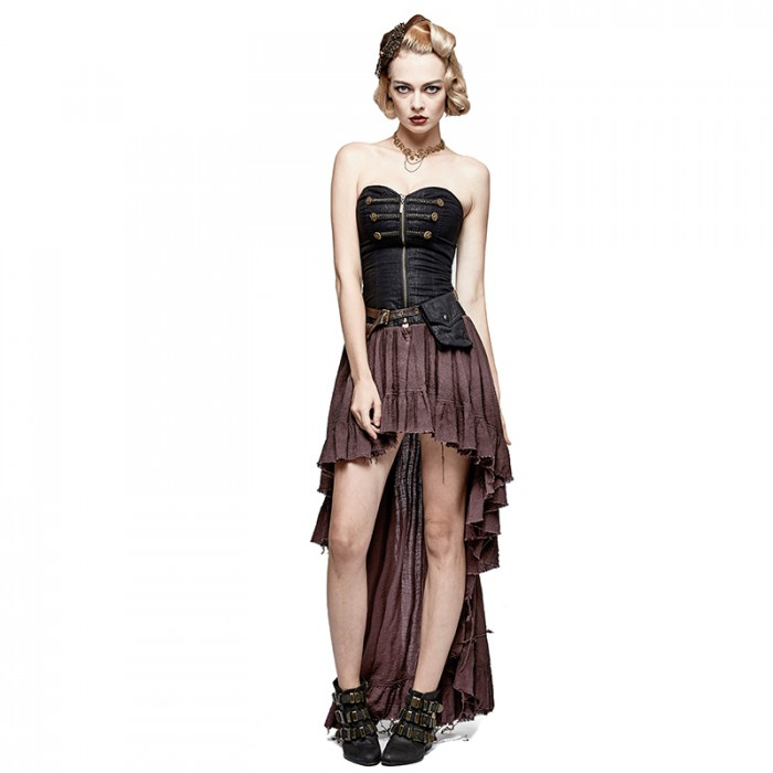 Steampunk Vintage Dress -  Black & Coffee