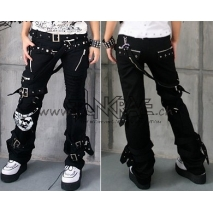 Gothic Cotton Black Punk Pants With Skull Patch and Floating Belt