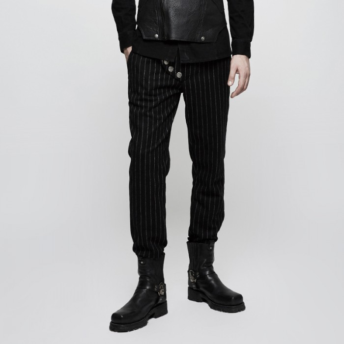 Black March Trousers - Noir Rayé