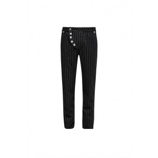 Black March Trousers - Striped Black