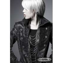 Gothic leather officer coat