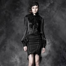Gothic satin ruffled shirt