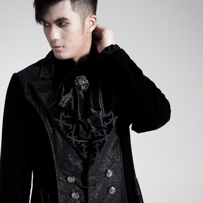 long manteau noir aristocrate original pour homme. Black Bedroom Furniture Sets. Home Design Ideas