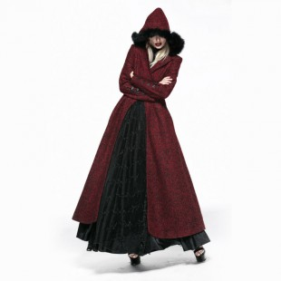 Queen gothic red long coat with hood