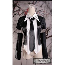 Gothic Black Cotton Conductor Vest with Skull Buttons, White Shirt