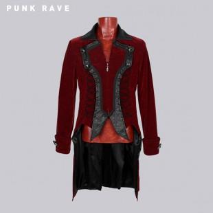 Steampunk victorian red velvet coat