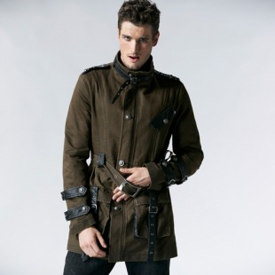 Army Style Steampunk Coat (coffee)