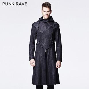 Guerrero Long Black Coat with hoodie
