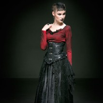 Gothic Decorated Corset Red Roses