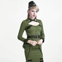 Zombie Uniform Collarless Shirt Green/Black